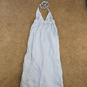Calypso Blue Linen Maxi Dress